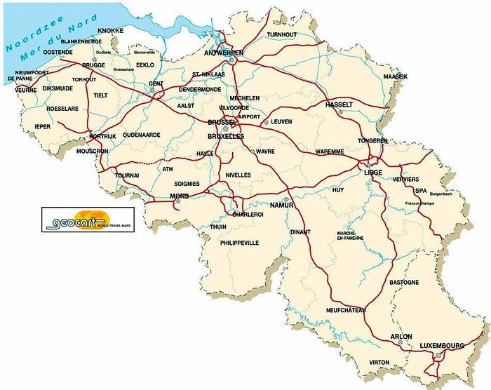 Carte De Belgique Kaart Van Belgie Map Of Belgium Karte Von Belgien Mapa De Belgica Mappa Del Belgio Plan De Belgique